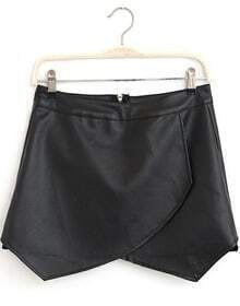 Black Zipper Asymmetrical PU Leather Skirt