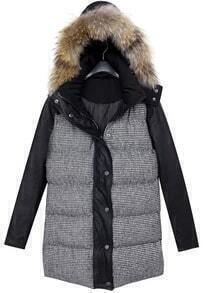 Black Faux Fur Hooded Houndstooth Coat