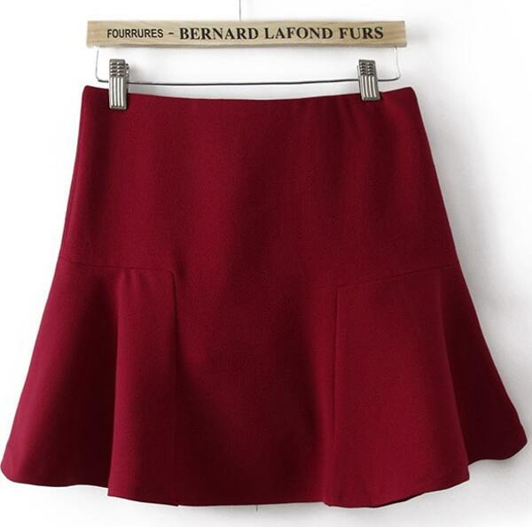 0660be8b7b Red Contrast Ruffle Mini Skirt. AddThis Sharing Buttons
