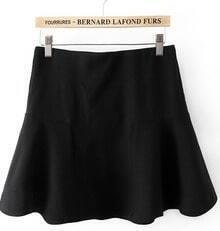 Black Contrast Ruffle Mini Skirt