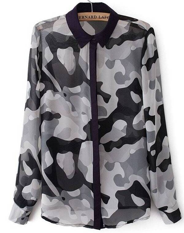 96c77dc2765e5 Black Camouflage Long Sleeve Chiffon Blouse | SHEIN