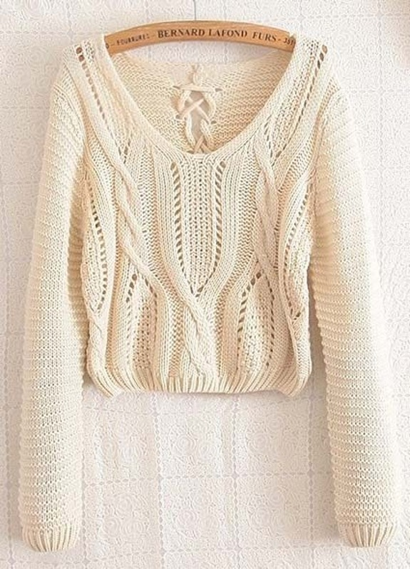 eec5427cfd Apricot Long Sleeve Cable Knit Lace Up Crop Sweater