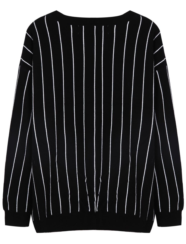 95c70931164 Black Long Sleeve Vertical Stripe Loose Sweater