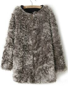 Grey Long Sleeve Zipper Faux Fur Coat