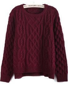 Wine Red Long Sleeve Cable Knit Dipped Hem Sweater