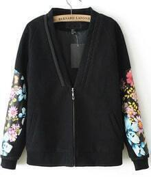 Black Long Sleeve V Neck Floral Print Zip Jacket
