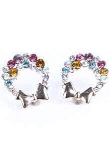 Multi Diamond Silver Bow Earrings