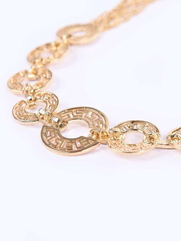 ca7fbe85e8 Gold Hollow Coins Chain Necklace -SheIn(Sheinside)