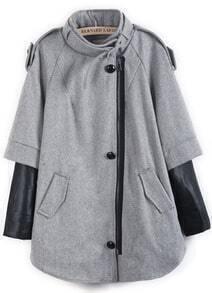 Grey Contrast PU Leather Epaulet Pockets Coat