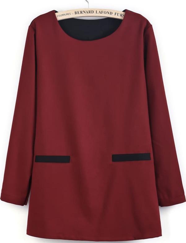 c0c3fd5e3d64 Red Contrast Black Long Sleeve Loose Dress -SheIn(Sheinside)