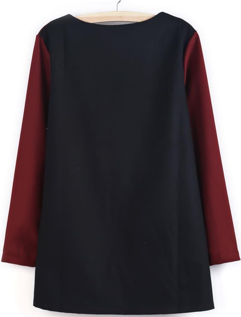 e98c71582e72 Red Contrast Black Long Sleeve Loose Dress