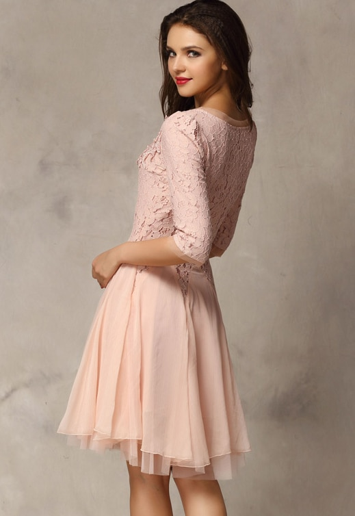 Pink Coctel Half Sleeve Lace Bead Chiffon Babydoll Dress -SheIn ...
