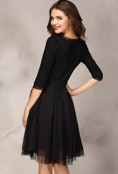 Black Half Sleeve Lace Bead Chiffon Dress -SheIn(Sheinside)