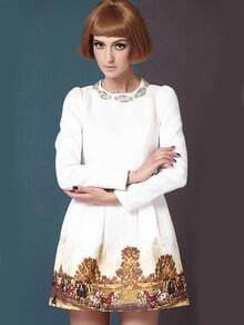 White Long Sleeve Metal Beading Neckline Retro Print Dress
