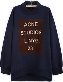 Blue Stand Collar Long Sleeve Letters Print Sweatshirt