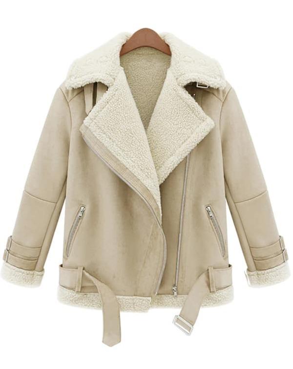 725a48d59b Beige Lapel Long Sleeve Zipper Wool Coat | SHEIN