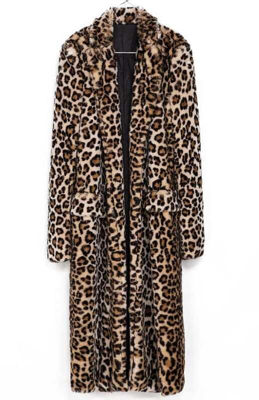 5b8db253a35 Cheap Brown Leopard Print Faux Fur Longline Coat for sale Australia ...