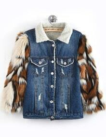 Blue Contrast Faux Fur Long Sleeve Denim Coat