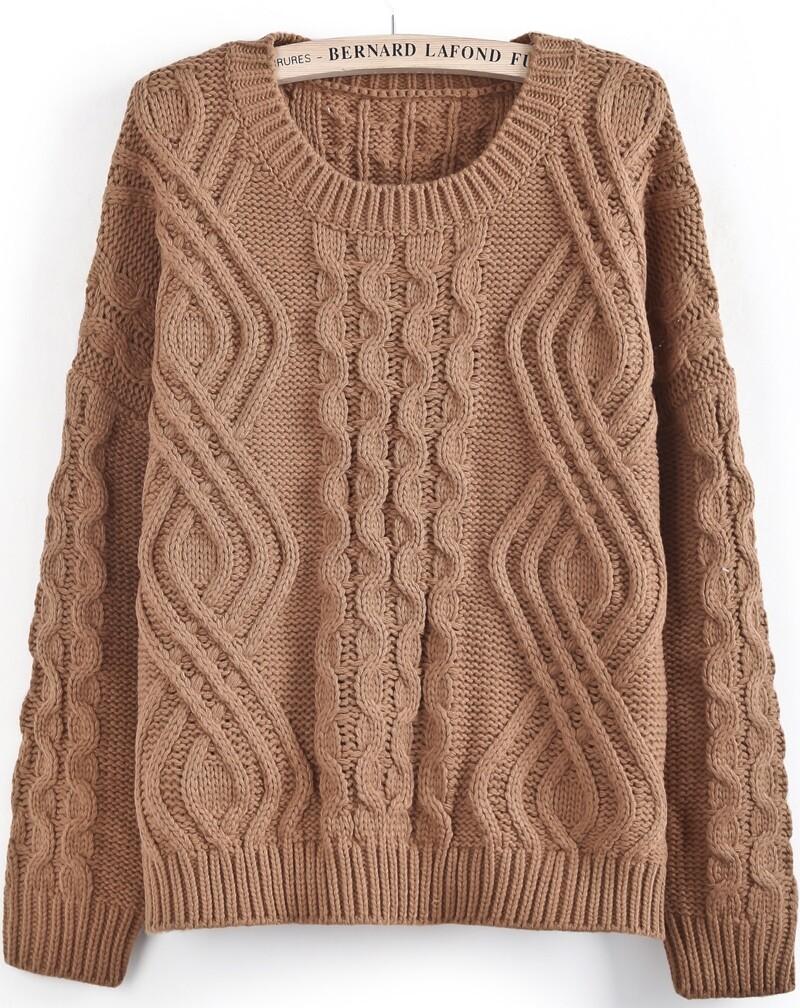 Khaki Long Sleeve Geo Pattern Cable Knit Sweater -SheIn(Sheinside)