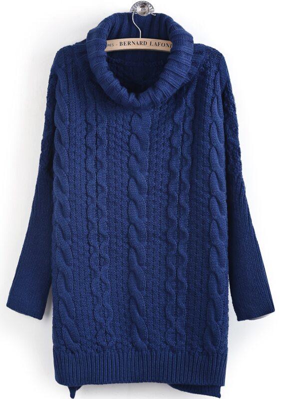 Jersey punto trenza cuello alto manga larga-Azul. AddThis Sharing Buttons 4fdf0c744d7c