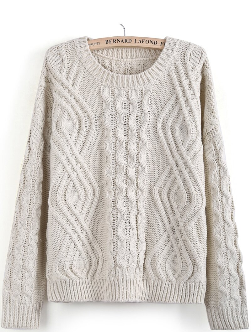 Apricot Long Sleeve Geo Pattern Cable Knit Sweater -SheIn(Sheinside)