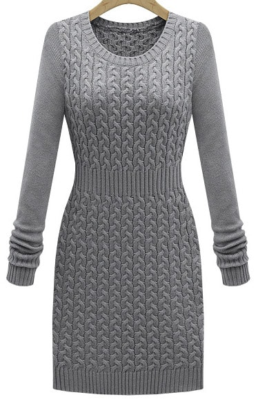 7184734ea1 Grey Long Sleeve Cable Knit Sweater Dress -SheIn(Sheinside)