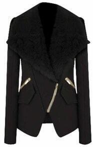Black Long Sleeve Fur Lapel Oblique Zip Coat