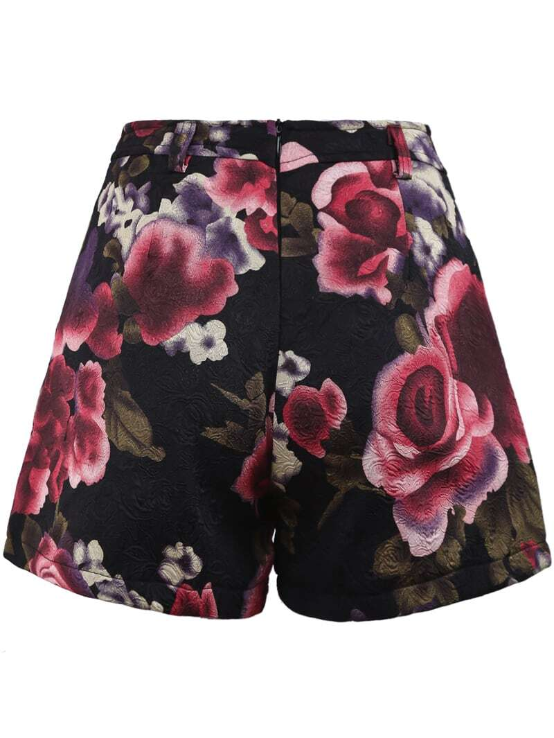 Red vintage floral embroidered shorts shein sheinside