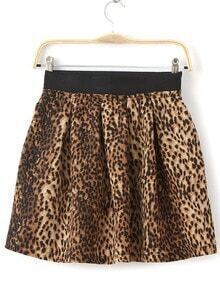 Leopard Pleated Flare Skirt