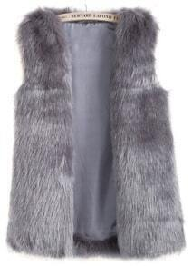 Grey Sleeveless Pockets Fox Fur Vest