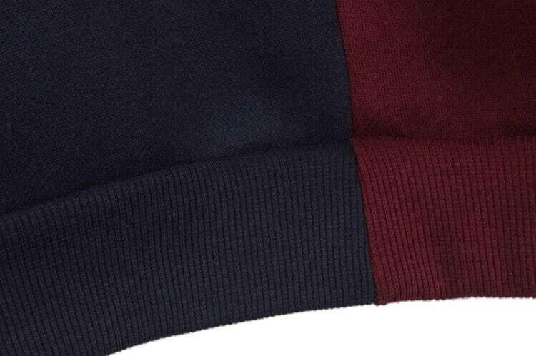 Royal Blue Contrast Wine Red Basketball Print Sweatshirt
