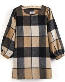 Khaki Long Puff Sleeve Plaid Loose Dress