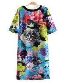 Multi Short Sleeve Floral Slim Bodycon Dress