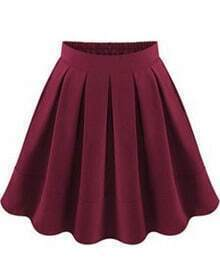 Wine Red Flare Pleated Skirt