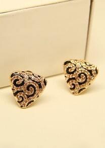 Gold Leopard Triangle Stud Earrings