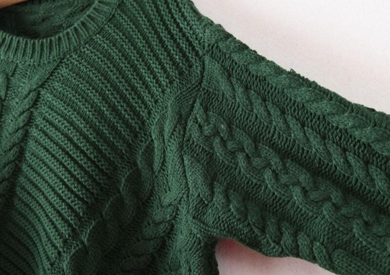 Green Long Sleeve Asymmetrical Cable Knit Sweater Sheinsheinside