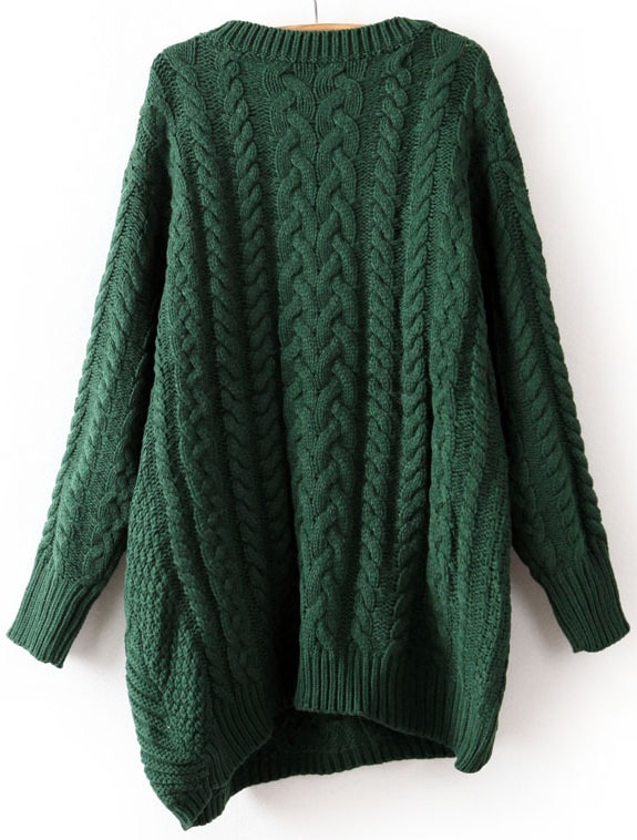 Green Long Sleeve Asymmetrical Cable Knit Sweater Sheinsheinside