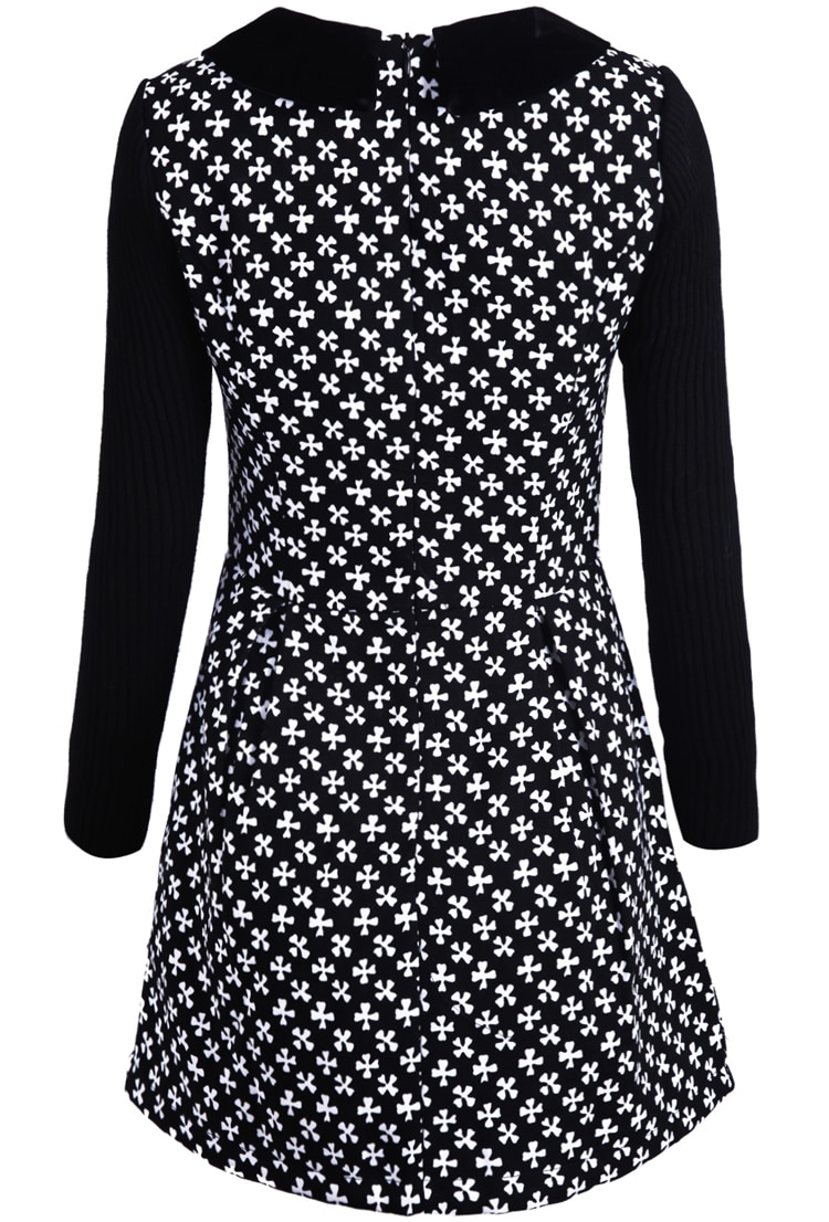 Black Long Sleeve Snowflake Pattern Knit Dress -SheIn(Sheinside)
