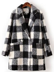 Black White Plaid Lapel Long Sleeve Pockets Coat