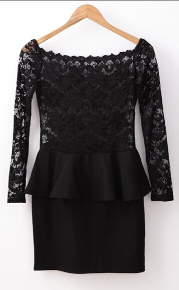 77caef6721 Black Long Sleeve Off The Shoulder Lace Ruffle Dress | SHEIN