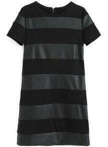 Black Contrast PU Leather Striped Slim Dress