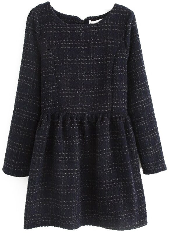 564fd1a4193 Navy Long Sleeve Plaid Pleated Tweed Dress | SHEIN