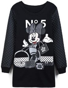 Black Contrast PU Leather Mickey Print Dress
