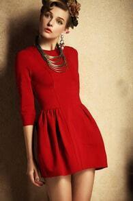 Red Three Quarter Length Sleeve Flare Dress