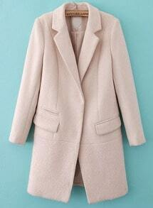 Beige Notch Lapel Long Sleeve Pockets Coat
