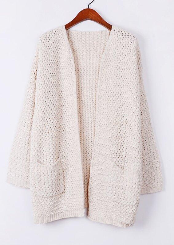 25cbd56f42 Apricot Long Sleeve Pockets Oversized Cardigan