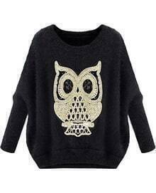 Black Long Sleeve Owl Pattern Mohair Sweater