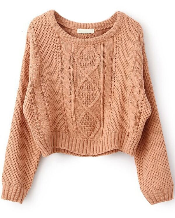 9578392930852 Pink Long Sleeve Cable Knit Pullover Sweater