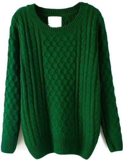 Green Batwing Long Sleeve Cable Knit Sweater Sheinsheinside