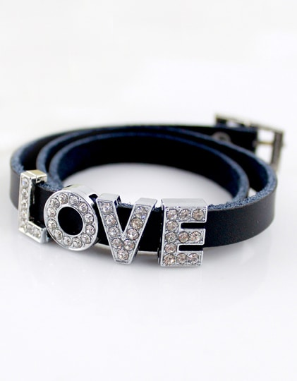 fa08703ee5 Silver Diamond LOVE Black Leather Bracelet -SheIn(Sheinside)